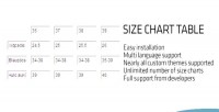 Chart sizes table