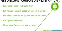 Discount get registration on coupon