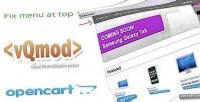 Opencart fix menu bar vqmod top to