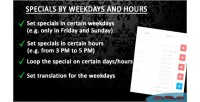 Specials by weekdays & hours oc 1 5x x 2