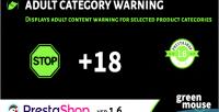 Adult prestashop category warning