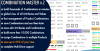 Combination master build manage thousands of prestashop in combinations