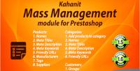 Management mass prestashop kahanit by module