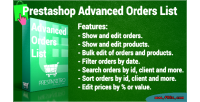 Orders advanced list