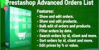 Orders advanced list