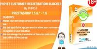 Phpist prestashop blocker registration customer