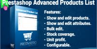 Product advanced list