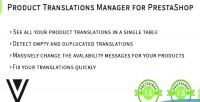 Translations product prestashop for manager