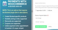Booked payments with woocommerce on add