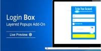 Box login layered on add popups