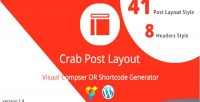 Crab post layout vc generator shortcode or