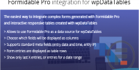 Forms formidable wpdatatables for integration