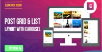 Page elementor builder post list grid carousel with layout
