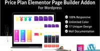 Plan pricing elementor builder page wordpress for addon