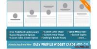 Profile easy widget on add cards