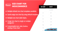 Chart size for woocommerce