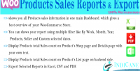 Product woocommerce sales exporter & report