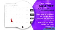 Table woocommerce variations for view