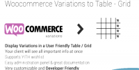 Variations woocommerce grid table to