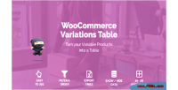Variations woocommerce table