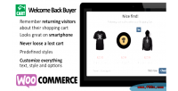 Woocommerce cart reminder for returning visitors buyer back welcome