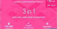 Label white admin theme package for 3 wordpress in 1 ultra admin material legacy