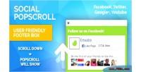 Social popup footer box down scroll just social