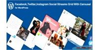 Twitter facebook instagram social grid streams with wordpress for carousel