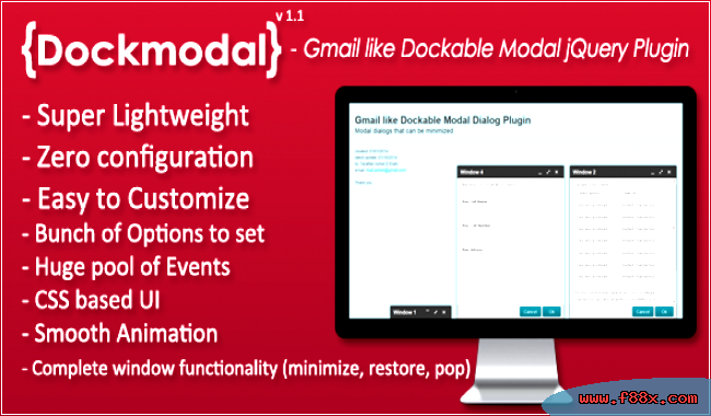 Dockmodal gmail like dockable plugin dialog modal JavaScript Forms