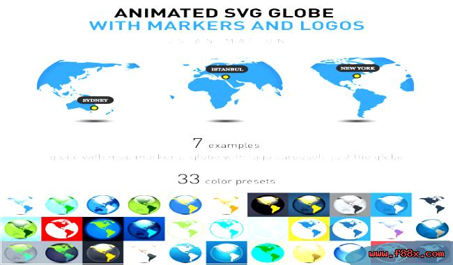 Animated svg globe with logos & markers download JavaScript