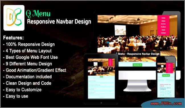 Navbar Design: Menu Q Design Navbar Responsive Download JavaScript Navigation