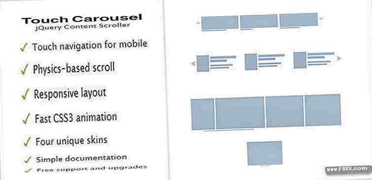 Jquery touchcarousel content slider & scroller javascript sliders